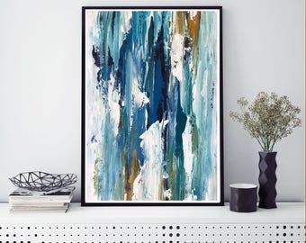 CANVAS ART Abstract Print Wall Art, Large Wall Art, Blue Abstract Print,  Giclee