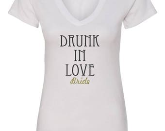 Bride T-Shirt Drunk In Love with Gold Glitter