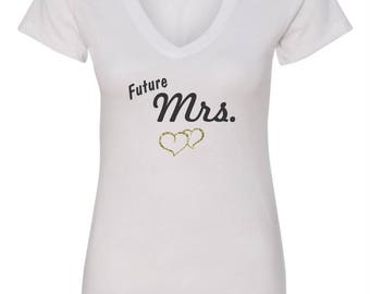 Bride T-Shirt Future Mrs with Gold Glitter Hearts