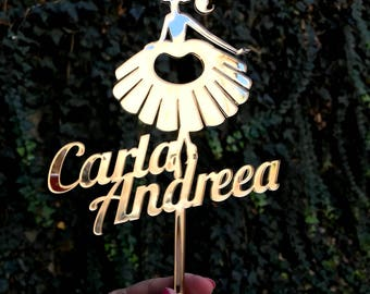 Custom cake topper | Gold mirror topper | Laser cut acrylic topper | Ornament for cake | Ballerina topper | Princess topper