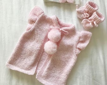 Baby Cardigan | Baby Girl Booties | Baby Headband | Baby Set | Knitted