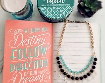 Turquoise Crystal Bib Statement Necklace Set