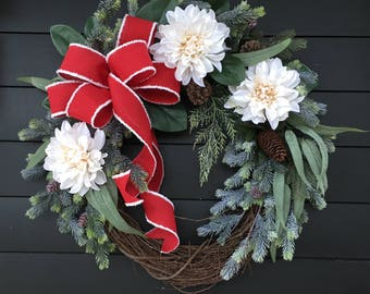 Christmas Wreath/ Front Door Wreath/ Holiday Wreath/ Merry Christmas Wreath/ Christmas Decor