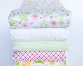 Flannel Cloth Diaper Burp Cloth - Floral - Set of 2, 3, 4 or 5 - Baby Girl