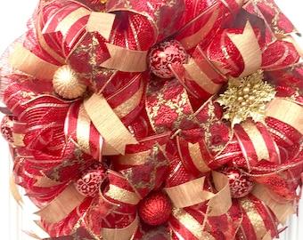 Deco mesh Christmas wreath, deco mesh wreath, red and gold wreath, Christmas decor, holiday wreath, Christmas wreath, red and gold decor