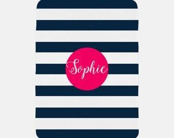 Striped Blanket Personalized, Striped Blanket, Monogram Blanket, Custom Name Blanket, Personalized Kids Blanket, Soft Fleece Blanket,