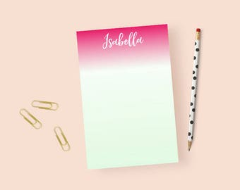 Ombre Personalized Notepad for Women, Pink and Mint Notepad, Ombre Notepad Personalized Stationery Notepad, Mint nad Pink Note Pad, 5.5x 8.5