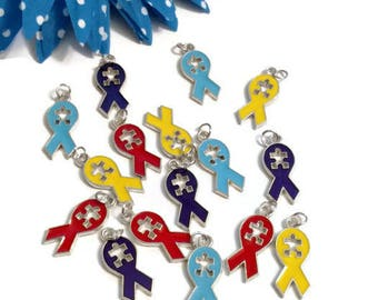 Set Of Autism Awareness Enamel Pendant Charms - Puzzle Inspirational Autistic Primary Color Ribbon Jewelry