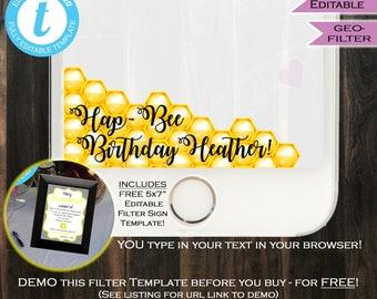 Snapchat GeoFilter- Honey Bee Birthday Party- HapBee Birthday- Any Age- White Yellow Black- Honeycomb- Personalize DIY INSTANT Self-EDITABLE