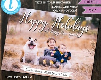 Christmas Card Photo Christmas Card Holiday Photo Card Happy Holidays and Happy New Year Personalized Custom Printable INSTANT Self EDITABLE