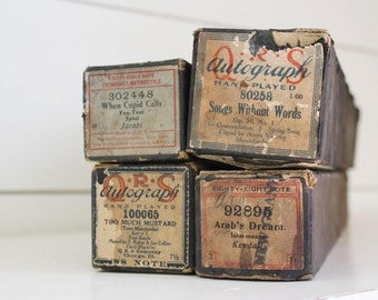 Vintage player piano rolls, vintage piano rolls, player piano rolls, Too Much Mustard//When Cupid Calls//Arab's Dream//Song Without Words