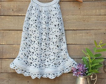 Crocheted Toddler Sundress or Top, size 2T - 3T,  pima cotton, choice of buttons