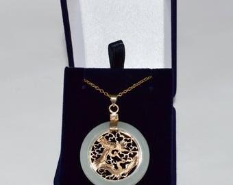 Gold Jade Chinese  Pendant Crane for Longevity and Wisdom Beautiful Vintage Asian Jadeite Necklace 10 carat gold