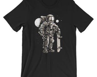 Skater Astronaut Short-Sleeve Unisex T-Shirt