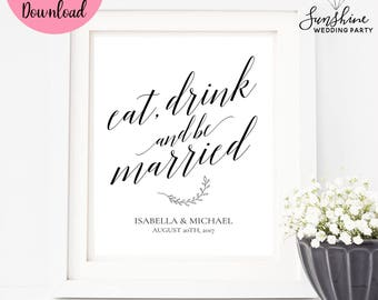 Eat Drink and Be Married, Wedding Sign, Wedding Cards Sign, Wedding Decor, Digital Download, Digital Wedding Sign, Wedding Sign, SKU#SIGN018