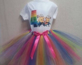 Personalized Birthday Minion Heat Press Shirt with Tutu