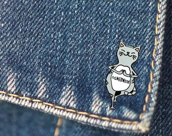 BUY 1, GET 1 Random Pin Free! Yoga Cat Enamel Pin Yoga Cat Lapel Pin Cat Pin Badge Namaste Pin Cat Lover Pin Kitten Pin Hard Enamel Pin