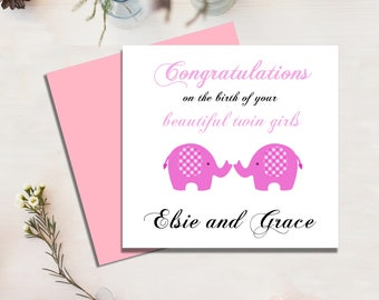 New Baby Twins Card, Baby Girl Twins, Congratulations, New Parents