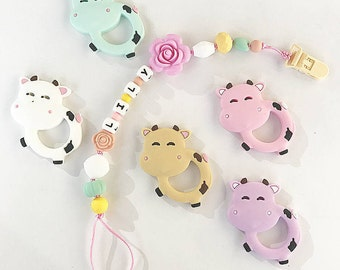 Personalized Teether Silicone Pacifier Clip Silicone Teething Holder Cow Teethers Baby Chew Jewelry Toddler Lovely Toy Food Grade Silicone
