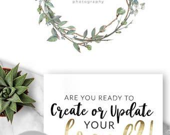 LOGO, Premade Logo, Design, Branding, Blog Header, Photography, Business, Boutique, Website, Wreath, Leaf, Natural, Homemade,  542