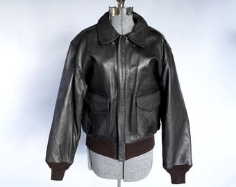 Cooper Brown A-2 Tomahawk Goatskin Flying Bomber Jacket Made in USA Size Large: 1980s