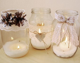 Candle holders, Rustic candle holders, Candles, Mason jar candles, Candle decor