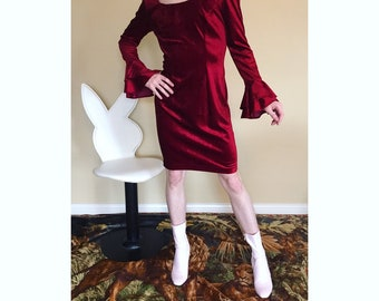 80s Velour dress with ruffled sleeves