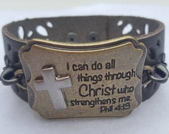 Philippians 4:13 Leather Cuff