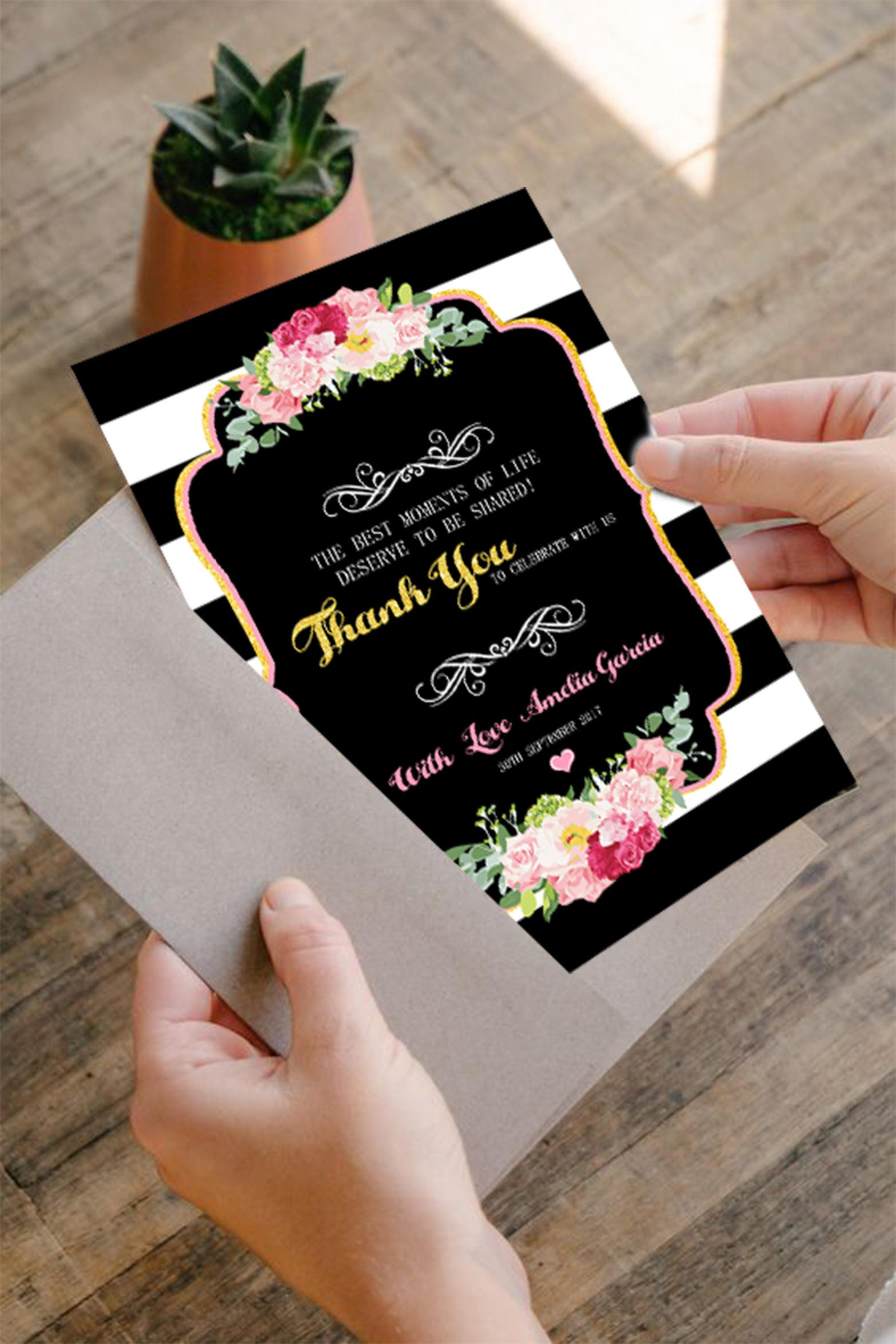 Thank You Card Kate Spade Baby Shower, Black And White Striped Invitation,  Black And