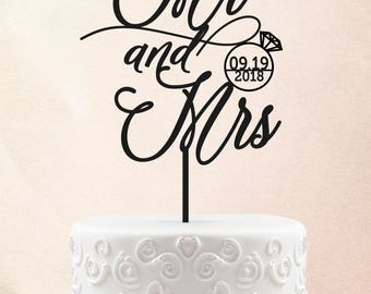 Mr and Mrs Wedding Cake Topper Customized Wedding Cake Topper Personalized Cake Topper for Wedding Cake Topper with Date 53