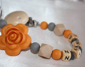 Mustard Yellow Rose Personalised Wooden Dummy Clip/BPA Free/Non Toxic Silicone Beads/Chain/holder