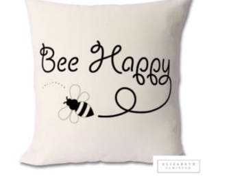 Bee Cushion Bumble Decor Hive Quote Zip