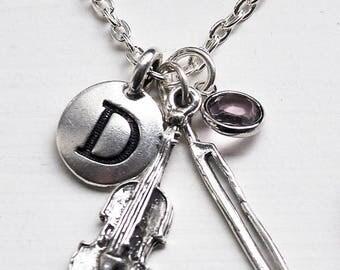 Violin Charm Necklace, Personalised Violin Charm Necklace, Sterling Silver Violin Charm,Birthstone Colour Charm, Personalised Charm Necklace