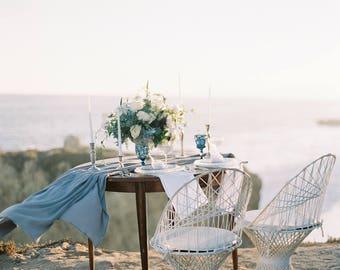 gauze runner  gauze table runner   cheesecloth runner   wedding runner   wedding tablecloth   gray overlay   dusty blue gray weddings  