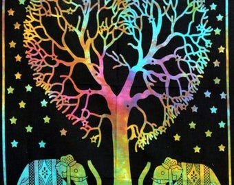 Elephant Tree of Life Psychedelic Ethnic Tapestry