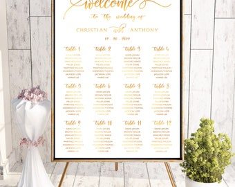 Gold wedding seating chart, Wedding seating chart poster, Wedding Seating Chart, Navy seating chart, Seating chart template, SC119