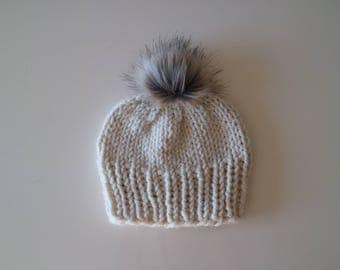 Chunky Handknit Faux Fur Beanie Hat - Neutral Gold Foil Sparkle
