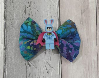 MiniFigure Easter Spring Bunny Batman Lego Dog Bow Tie, Dog clothing, Doggy Bow Tie, Puppy Bow Tie, Detachable Bow Tie, Slip on bow tie