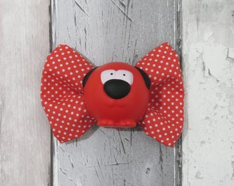 Red Nose Day Comic Relief Dog Bow Tie, Dog clothing, Doggy Bow Tie, Puppy Bow Tie, Detachable Bow Tie, Slip on bow tie