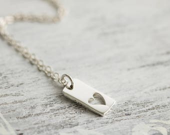 Birthday Ideas for Girlfriend, Christmas Gift For Wife, Birthday Ideas for Wife, Wedding Gift,Silver Heart Necklace, Vertical Bar Necklace