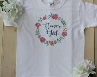 Flower Girl Shirt, Girls Name T-Shirt, Flower Wreath Shirts, Flower Girl Onesie, Petal Patrol Shirts, Flower Girl Bodysuits