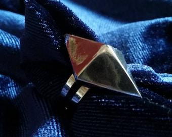 Gunmetal pyramid stud statement ring (adjustable)