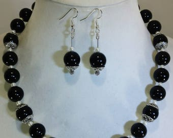 Black Pearl Necklace Set. Pearl Necklace. Silver Necklace.