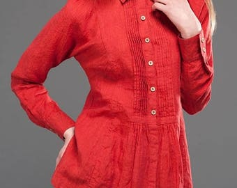 Red 100% flax linen women's blouse - European