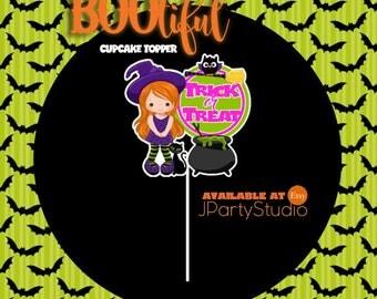 Halloween cupcake topper, set of 12