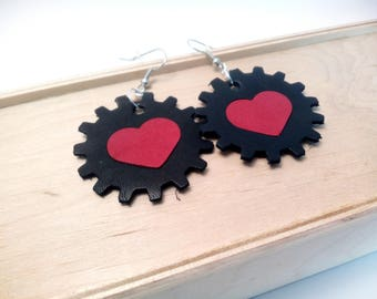 Lightweight leather earrings Leather jewelry Heart steampunk earrings Black and Red earrings Statement Jewelry Valentine's gift