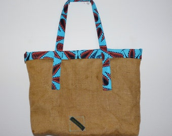 Jute and page African Turquoise Beach Bag