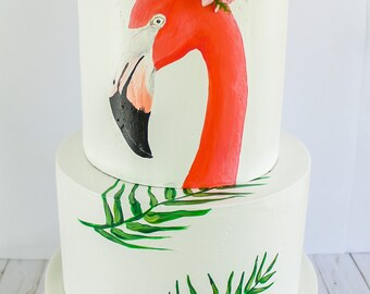 Flamingo Cake- Fake cake, prop cake, party decor