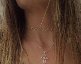 Sterling silver Diamond necklace, Diamond Necklace, diamond choker, Sterling silver necklace,  Sterling silver Choker, modern choker