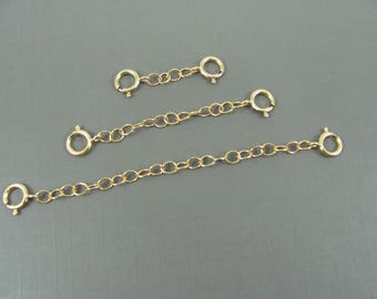 Gold Chain Extender, Gold Spring Clasp/ clasp for necklace bracelet anklet / safety chain/ double catch extender, 14K Gold filled extender